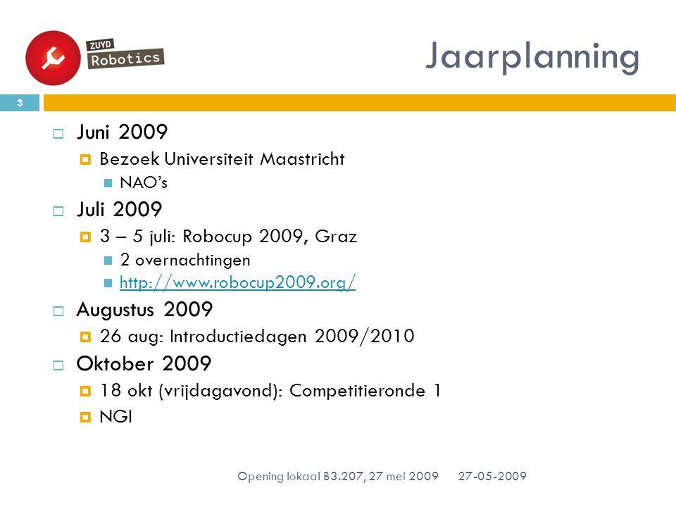  Juni 2009  Bezoek Universiteit Maastricht NAO's  Juli 2009  3 – 5 juli: Robocup 2009, Graz 2 overnachtingen http://www.robocup2009.org/  Augustus 2009  26 aug: Introductiedagen 2009/2010  Oktober 2009  18 okt (vrijdagavond): Competitieronde 1  NGI Jaarplanning 27-05-2009 3 Opening lokaal B3.207, 27 mei 2009