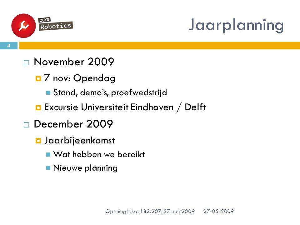 Jaarplanning 27-05-2009 Opening lokaal B3.207, 27 mei 2009 4  November 2009  7 nov: Opendag Stand, demo's, proefwedstrijd  Excursie Universiteit Eindhoven / Delft  December 2009  Jaarbijeenkomst Wat hebben we bereikt Nieuwe planning
