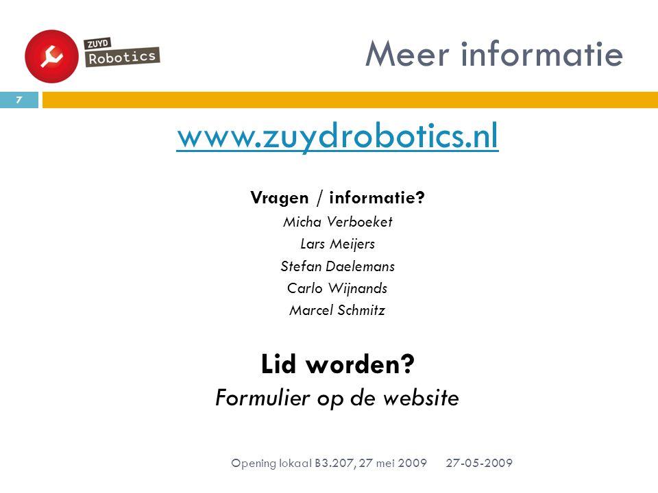 www.zuydrobotics.nl Vragen / informatie.