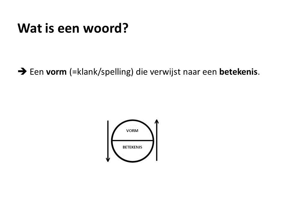 Wat is een woord?  Een vorm (=klank/spelling) die verwijst naar een betekenis. VORM BETEKENIS