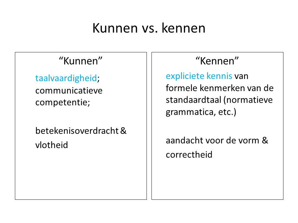 """Kunnen vs. kennen """"Kunnen"""" taalvaardigheid; communicatieve competentie; betekenisoverdracht & vlotheid """"Kennen"""" expliciete kennis van formele kenmerke"""
