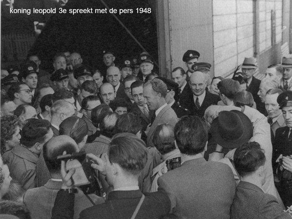 koning leopold 3e spreekt met de pers 1948