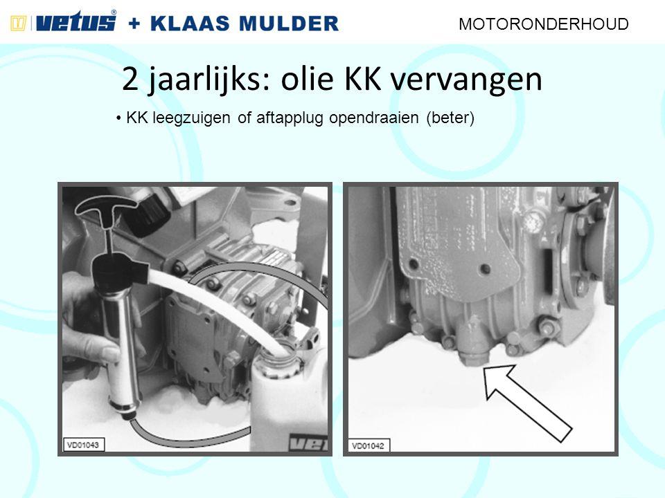 2 jaarlijks: olie KK vervangen MOTORONDERHOUD KK leegzuigen of aftapplug opendraaien (beter)