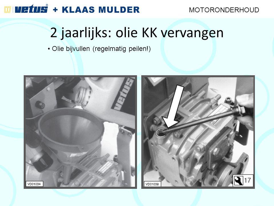 2 jaarlijks: olie KK vervangen MOTORONDERHOUD Olie bijvullen (regelmatig peilen!)