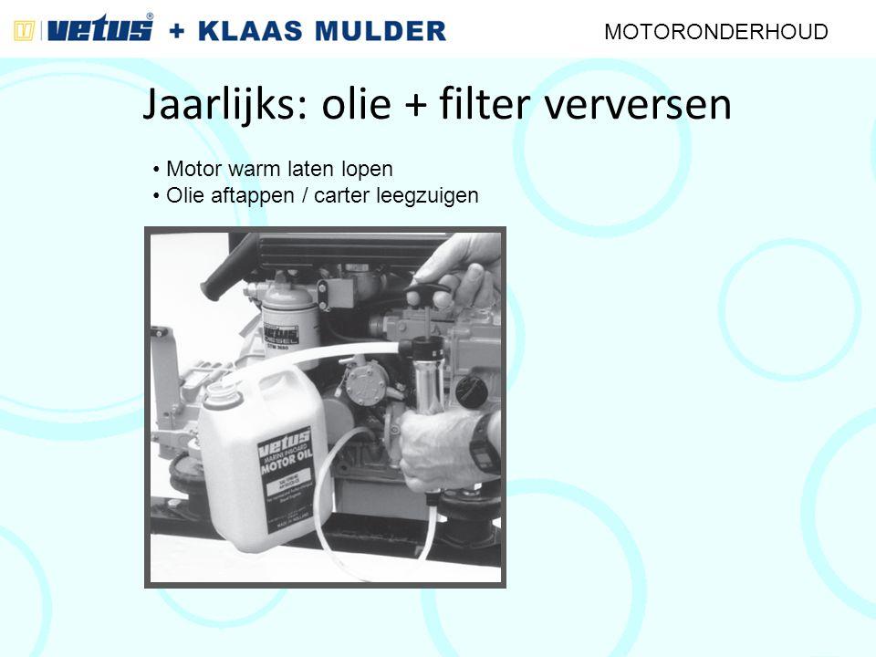 Jaarlijks: olie + filter verversen MOTORONDERHOUD Motor warm laten lopen Olie aftappen / carter leegzuigen