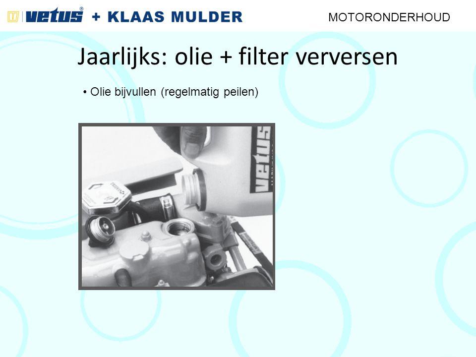 Jaarlijks: olie + filter verversen MOTORONDERHOUD Olie bijvullen (regelmatig peilen)