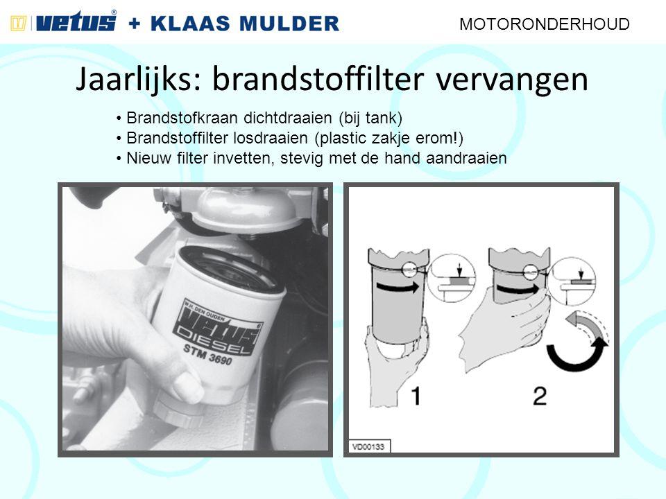 Jaarlijks: brandstoffilter vervangen MOTORONDERHOUD Brandstofkraan dichtdraaien (bij tank) Brandstoffilter losdraaien (plastic zakje erom!) Nieuw filt