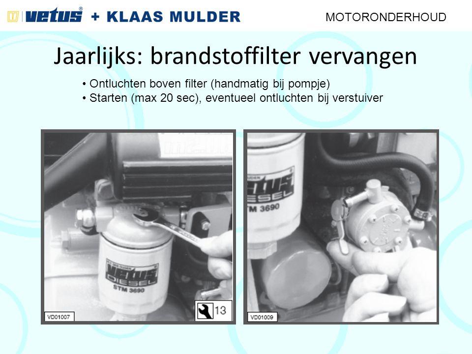 Jaarlijks: brandstoffilter vervangen MOTORONDERHOUD Ontluchten boven filter (handmatig bij pompje) Starten (max 20 sec), eventueel ontluchten bij vers
