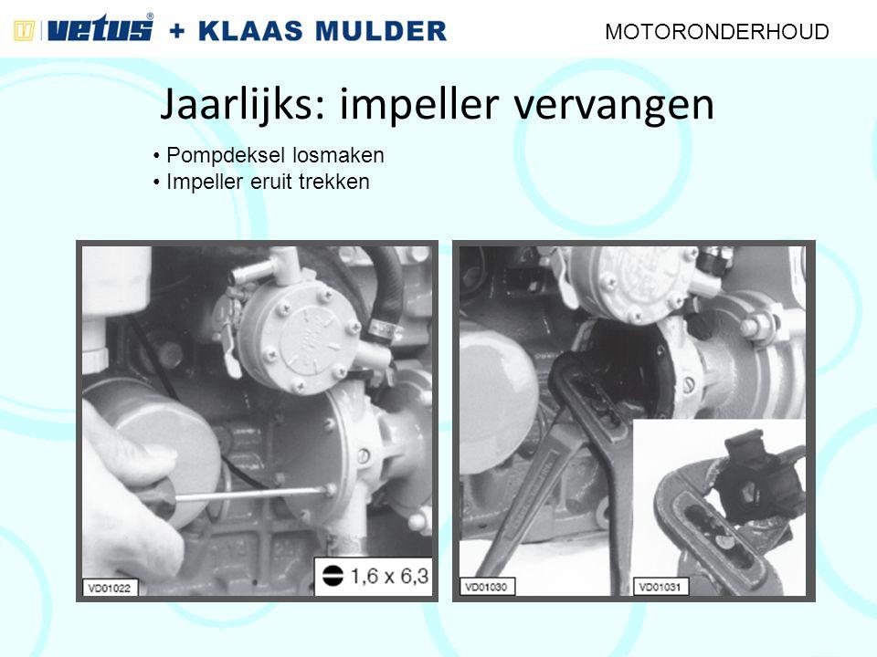 Jaarlijks: impeller vervangen MOTORONDERHOUD Pompdeksel losmaken Impeller eruit trekken