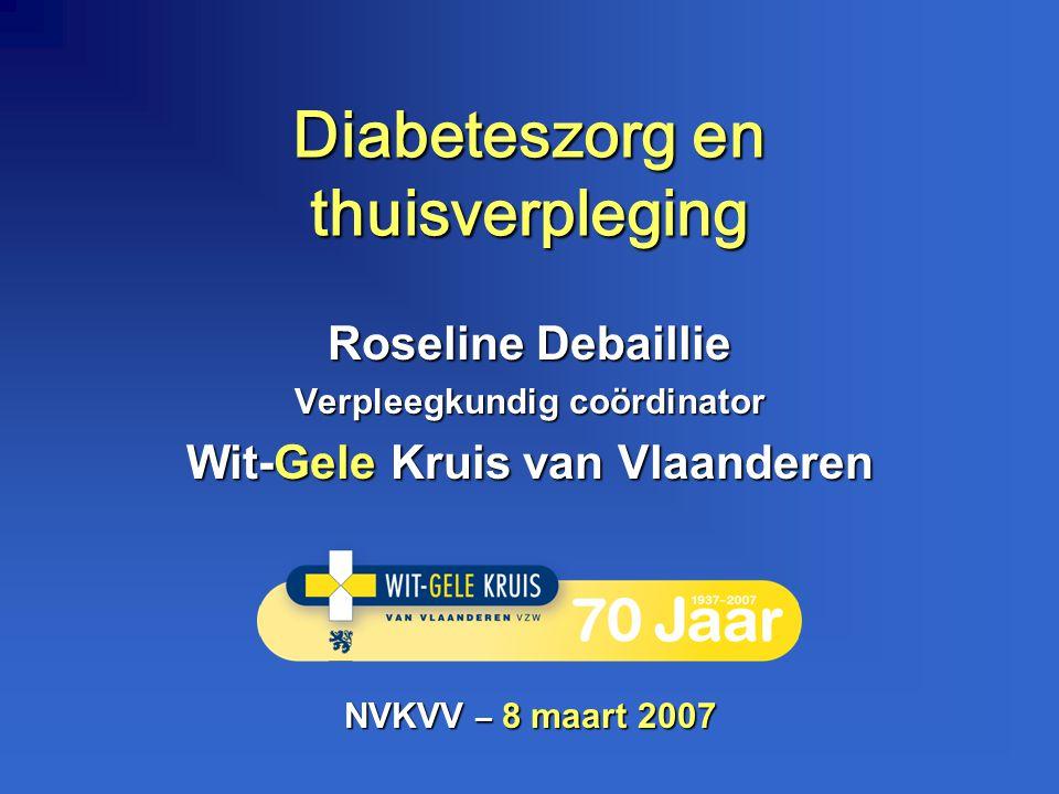 Diabeteszorg en thuisverpleging Roseline Debaillie Verpleegkundig coördinator Wit-Gele Kruis van Vlaanderen NVKVV – 8 maart 2007