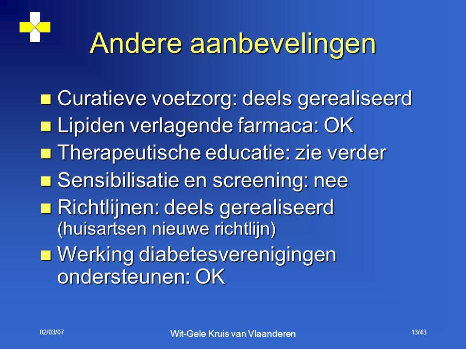 02/03/07 Wit-Gele Kruis van Vlaanderen 13/43 Andere aanbevelingen Curatieve voetzorg: deels gerealiseerd Curatieve voetzorg: deels gerealiseerd Lipide