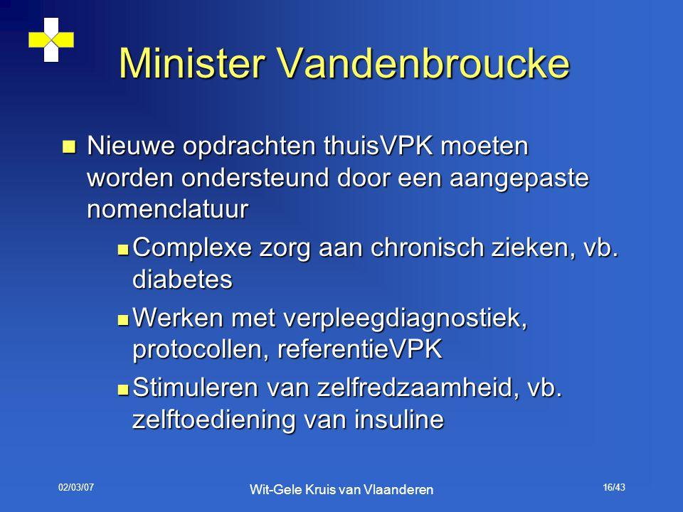 02/03/07 Wit-Gele Kruis van Vlaanderen 16/43 Minister Vandenbroucke Nieuwe opdrachten thuisVPK moeten worden ondersteund door een aangepaste nomenclat