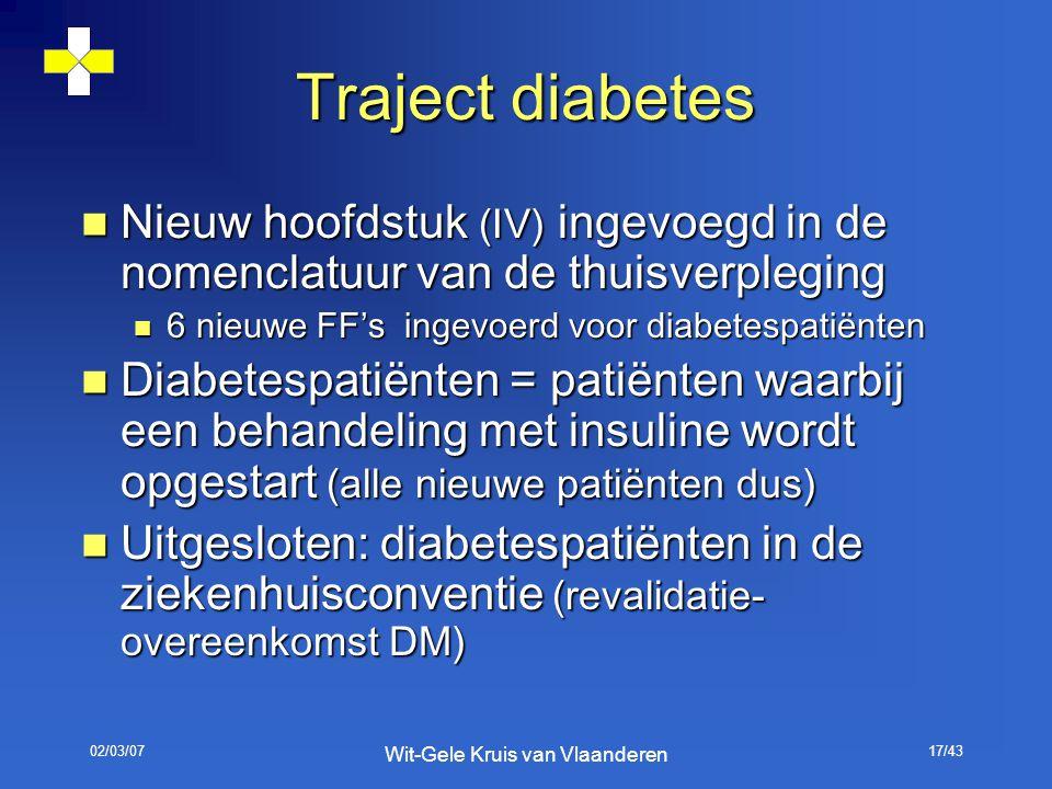 02/03/07 Wit-Gele Kruis van Vlaanderen 17/43 Traject diabetes Nieuw hoofdstuk (IV) ingevoegd in de nomenclatuur van de thuisverpleging Nieuw hoofdstuk