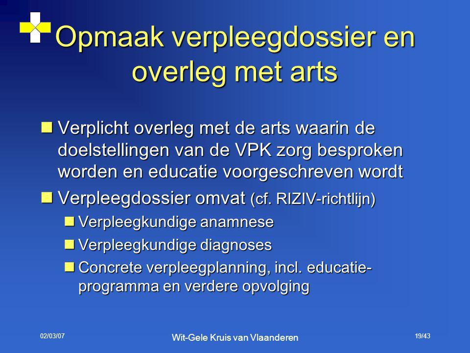 02/03/07 Wit-Gele Kruis van Vlaanderen 19/43 Opmaak verpleegdossier en overleg met arts Verplicht overleg met de arts waarin de doelstellingen van de
