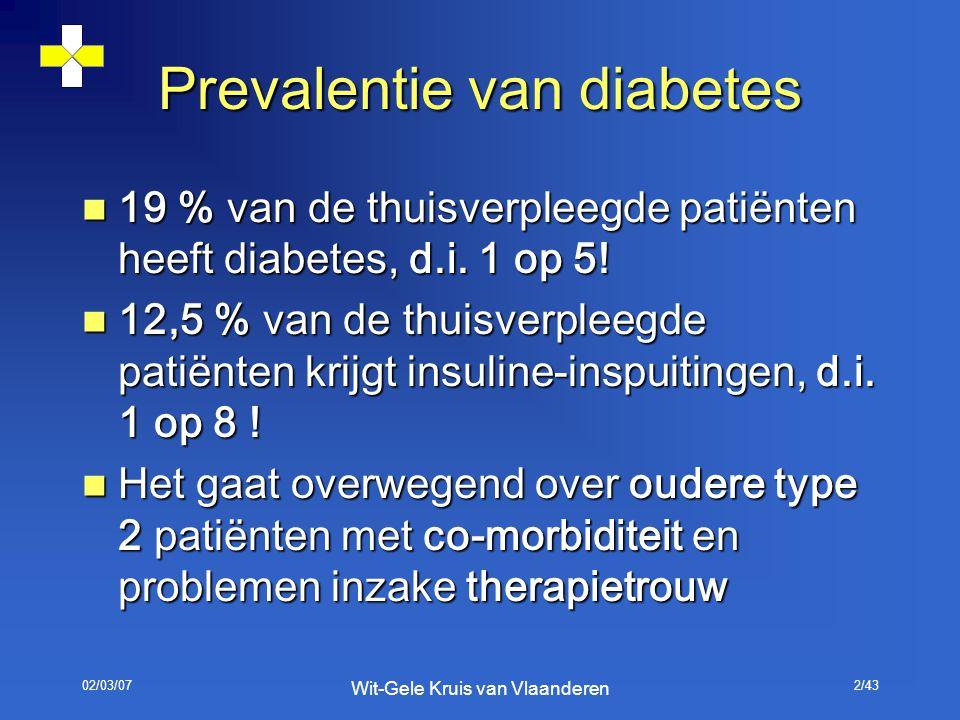 02/03/07 Wit-Gele Kruis van Vlaanderen 2/43 Prevalentie van diabetes 19 % van de thuisverpleegde patiënten heeft diabetes, d.i. 1 op 5! 19 % van de th