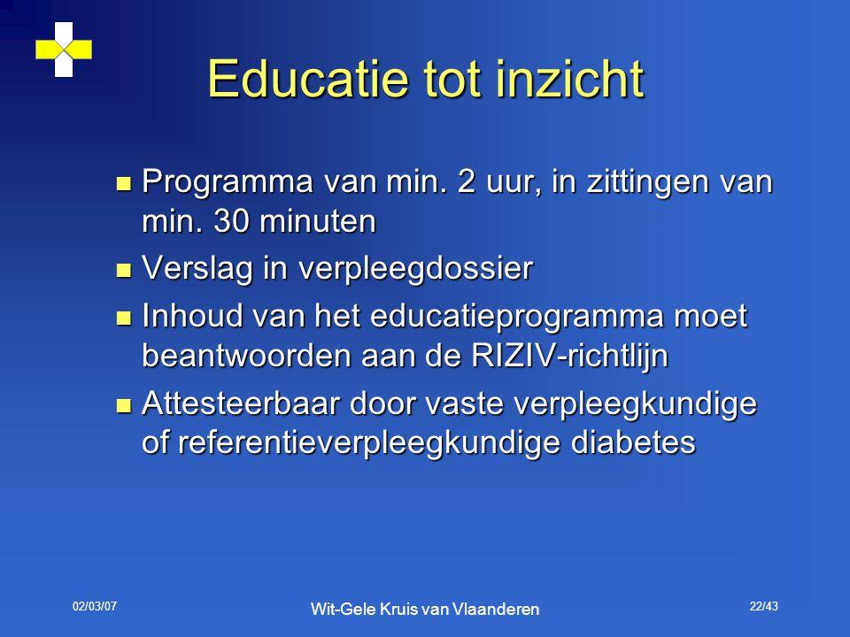02/03/07 Wit-Gele Kruis van Vlaanderen 22/43 Educatie tot inzicht Programma van min. 2 uur, in zittingen van min. 30 minuten Programma van min. 2 uur,