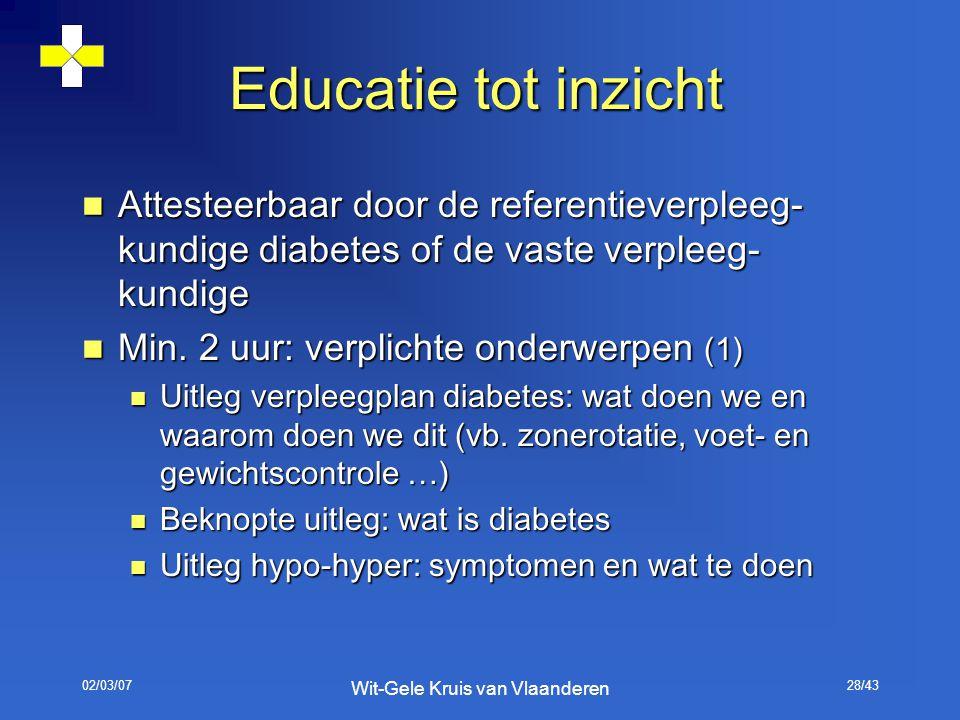 02/03/07 Wit-Gele Kruis van Vlaanderen 28/43 Educatie tot inzicht Attesteerbaar door de referentieverpleeg- kundige diabetes of de vaste verpleeg- kun