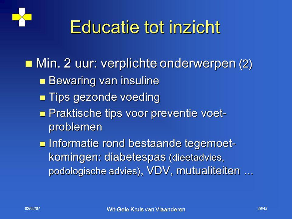 02/03/07 Wit-Gele Kruis van Vlaanderen 29/43 Educatie tot inzicht Min. 2 uur: verplichte onderwerpen (2) Min. 2 uur: verplichte onderwerpen (2) Bewari