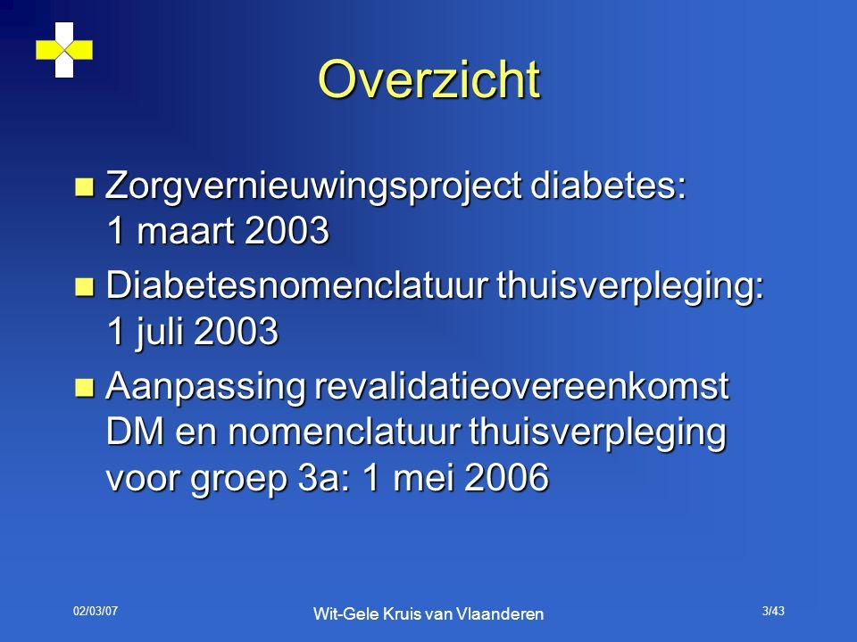 02/03/07 Wit-Gele Kruis van Vlaanderen 3/43 Overzicht Zorgvernieuwingsproject diabetes: 1 maart 2003 Zorgvernieuwingsproject diabetes: 1 maart 2003 Di