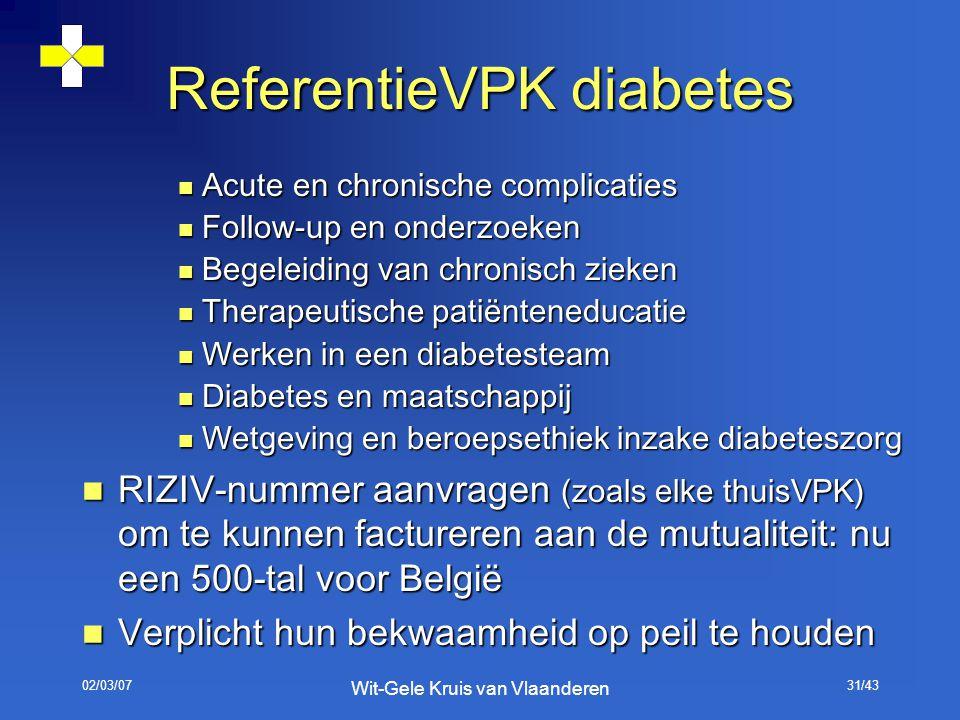 02/03/07 Wit-Gele Kruis van Vlaanderen 31/43 Acute en chronische complicaties Acute en chronische complicaties Follow-up en onderzoeken Follow-up en o