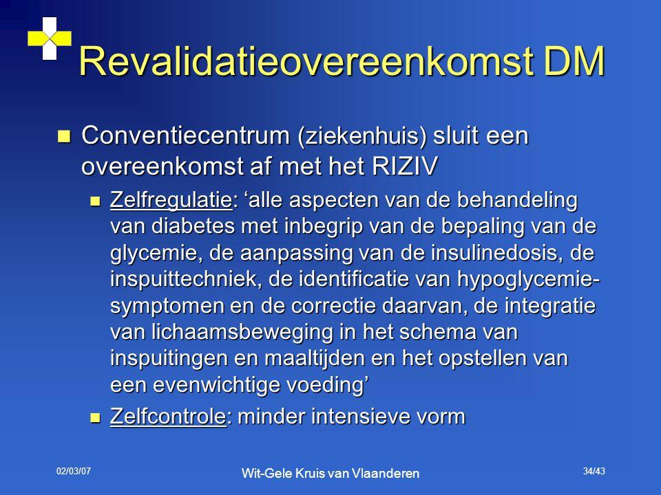 02/03/07 Wit-Gele Kruis van Vlaanderen 34/43 Revalidatieovereenkomst DM Conventiecentrum (ziekenhuis) sluit een overeenkomst af met het RIZIV Conventi