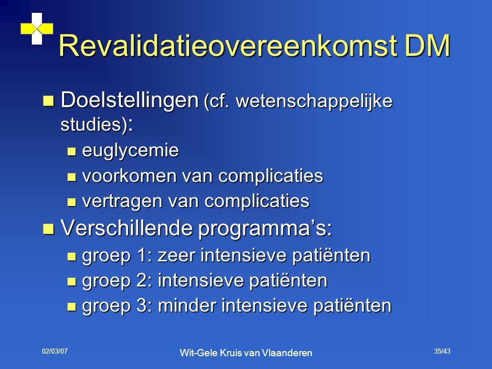 02/03/07 Wit-Gele Kruis van Vlaanderen 35/43 Revalidatieovereenkomst DM Doelstellingen (cf. wetenschappelijke studies) : Doelstellingen (cf. wetenscha