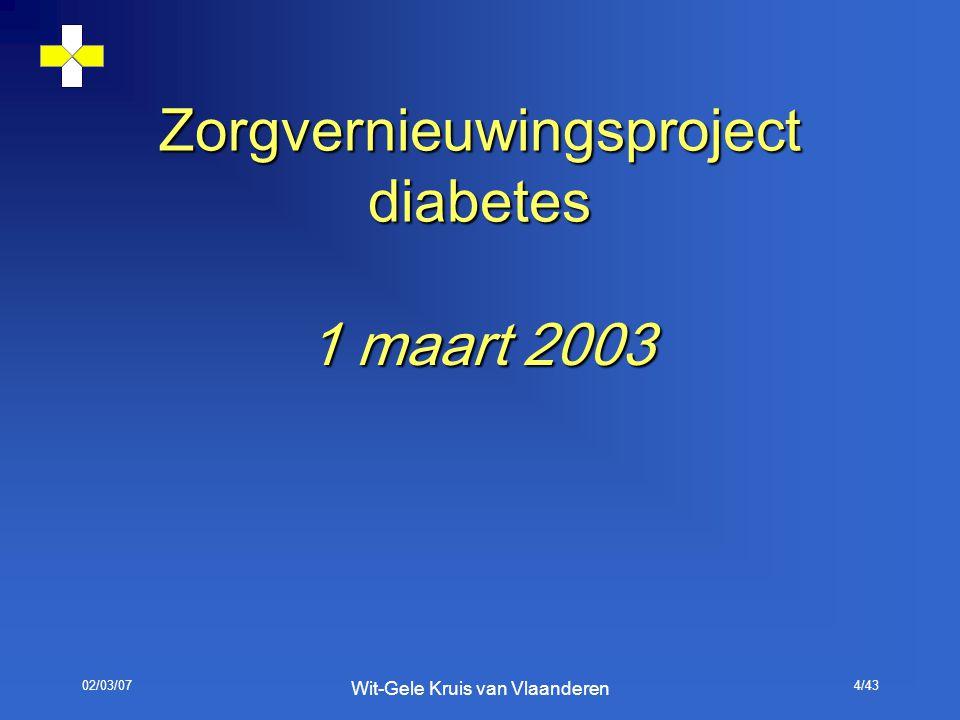 02/03/07 Wit-Gele Kruis van Vlaanderen 4/43 Zorgvernieuwingsproject diabetes 1 maart 2003