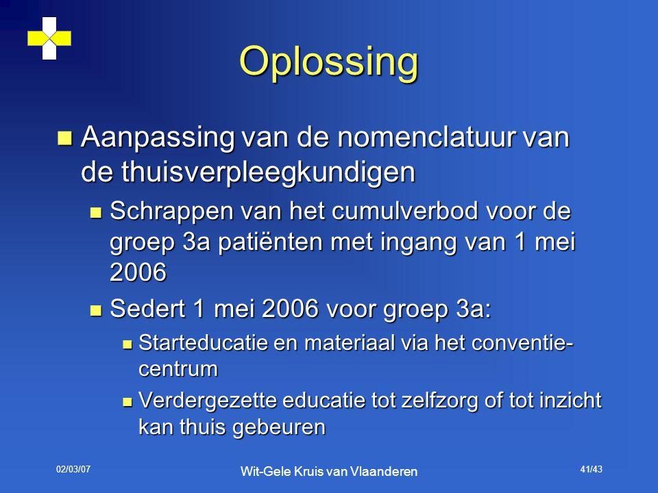 02/03/07 Wit-Gele Kruis van Vlaanderen 41/43 Oplossing Aanpassing van de nomenclatuur van de thuisverpleegkundigen Aanpassing van de nomenclatuur van