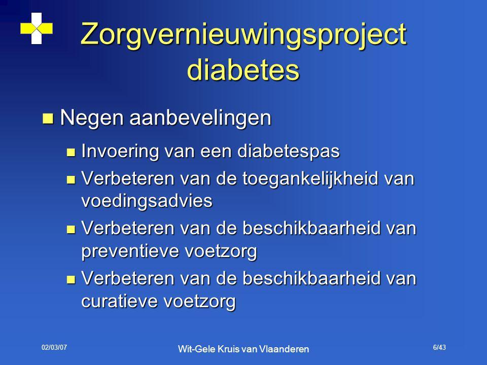02/03/07 Wit-Gele Kruis van Vlaanderen 6/43 Zorgvernieuwingsproject diabetes Negen aanbevelingen Negen aanbevelingen Invoering van een diabetespas Inv