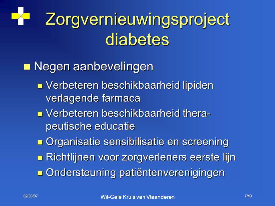 02/03/07 Wit-Gele Kruis van Vlaanderen 7/43 Zorgvernieuwingsproject diabetes Negen aanbevelingen Negen aanbevelingen Verbeteren beschikbaarheid lipide
