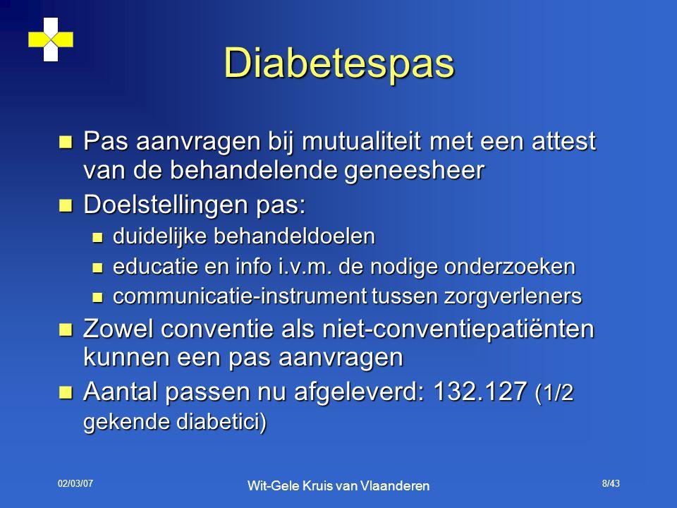 02/03/07 Wit-Gele Kruis van Vlaanderen 8/43 Diabetespas Pas aanvragen bij mutualiteit met een attest van de behandelende geneesheer Pas aanvragen bij
