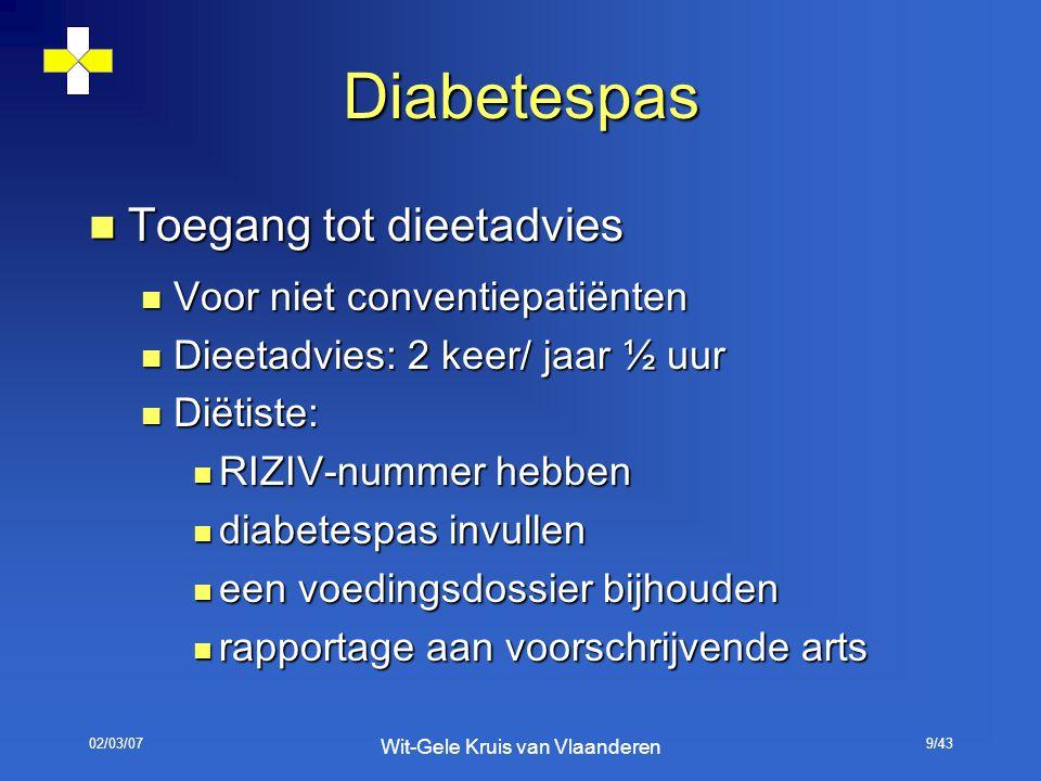 02/03/07 Wit-Gele Kruis van Vlaanderen 9/43 Diabetespas Toegang tot dieetadvies Toegang tot dieetadvies Voor niet conventiepatiënten Voor niet convent