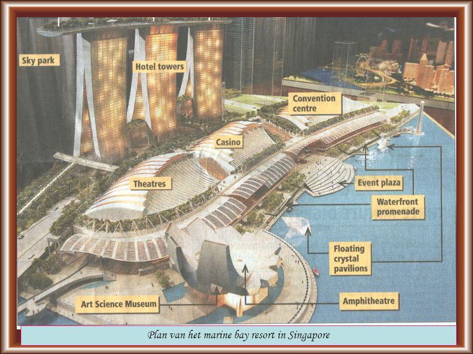 Plan van het marine bay resort in Singapore