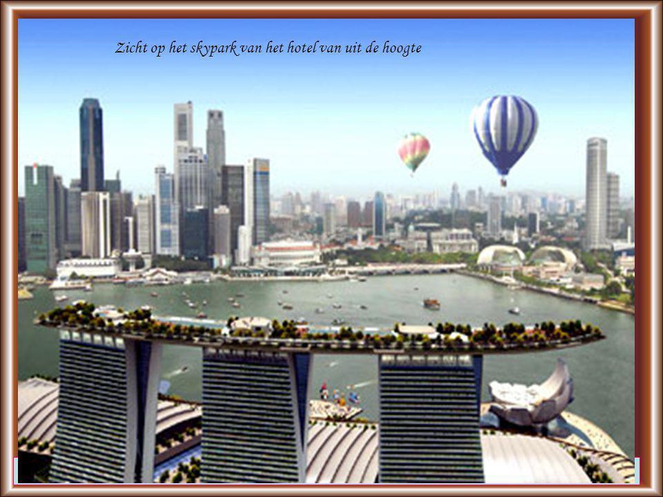 Thoma Arasi, de directeur van het resort, hoopt op 70.000 bezoekers per dag, zo'n 18 miljoen op jaarbasis Zicht op het skypark van het hotel van uit de hoogte