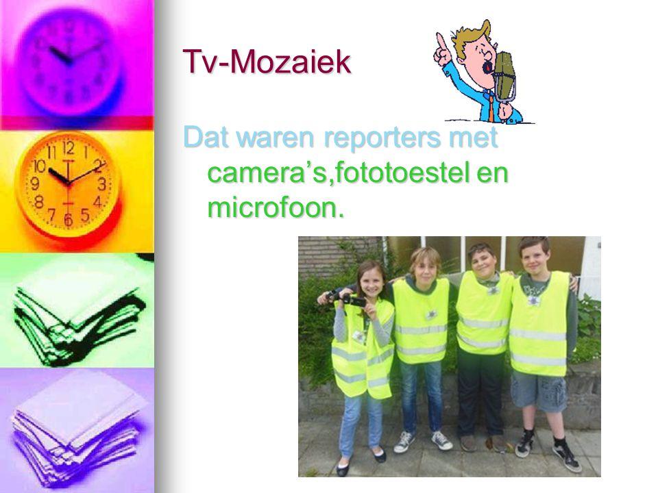 Tv-Mozaiek Dat waren reporters met camera's,fototoestel en microfoon.