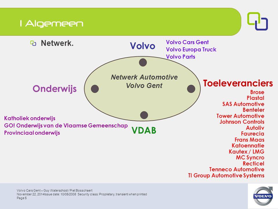 Volvo Cars Gent – Guy Waterschoot / Piet Bosschaert Page 16 November 22, 2014Issue date: 10/05/2008 Security class: Proprietary, transient when printed Toekomst 7 de jaar Automotive schooljaar 2008-2009 Start 1 september 2008