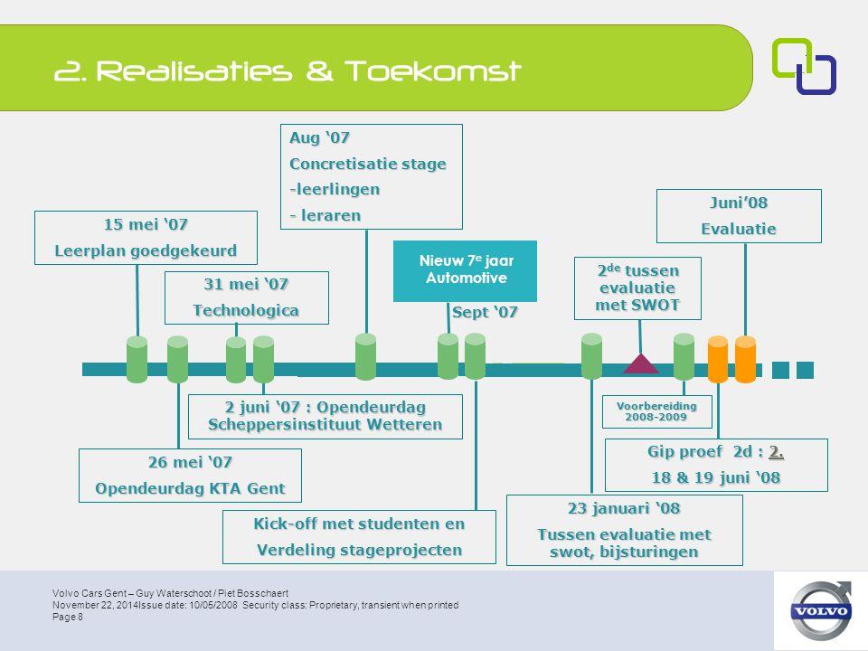 Volvo Cars Gent – Guy Waterschoot / Piet Bosschaert Page 9 November 22, 2014Issue date: 10/05/2008 Security class: Proprietary, transient when printed Maken van afspraken tussen bedrijven en scholen Verschillende stageplaatsen vastgelegd per bedrijf Verzamelen van mogelijke projecten, dit voor alle bedrijven 2.