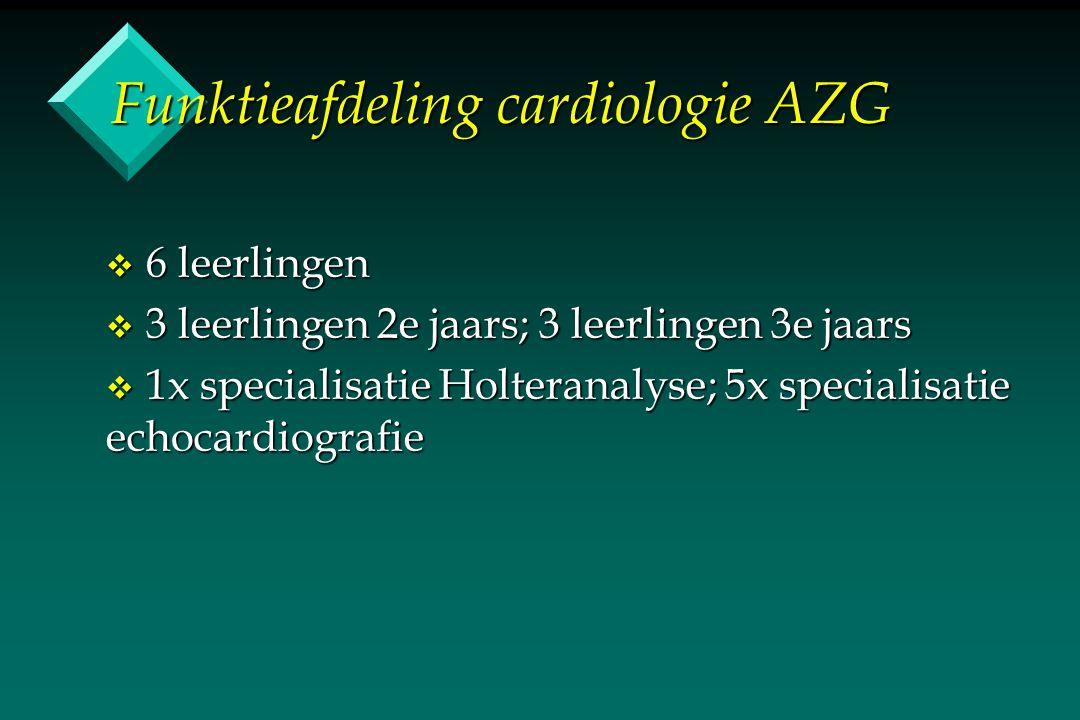 Funktieafdeling cardiologie AZG v 6 leerlingen v 3 leerlingen 2e jaars; 3 leerlingen 3e jaars v 1x specialisatie Holteranalyse; 5x specialisatie echocardiografie