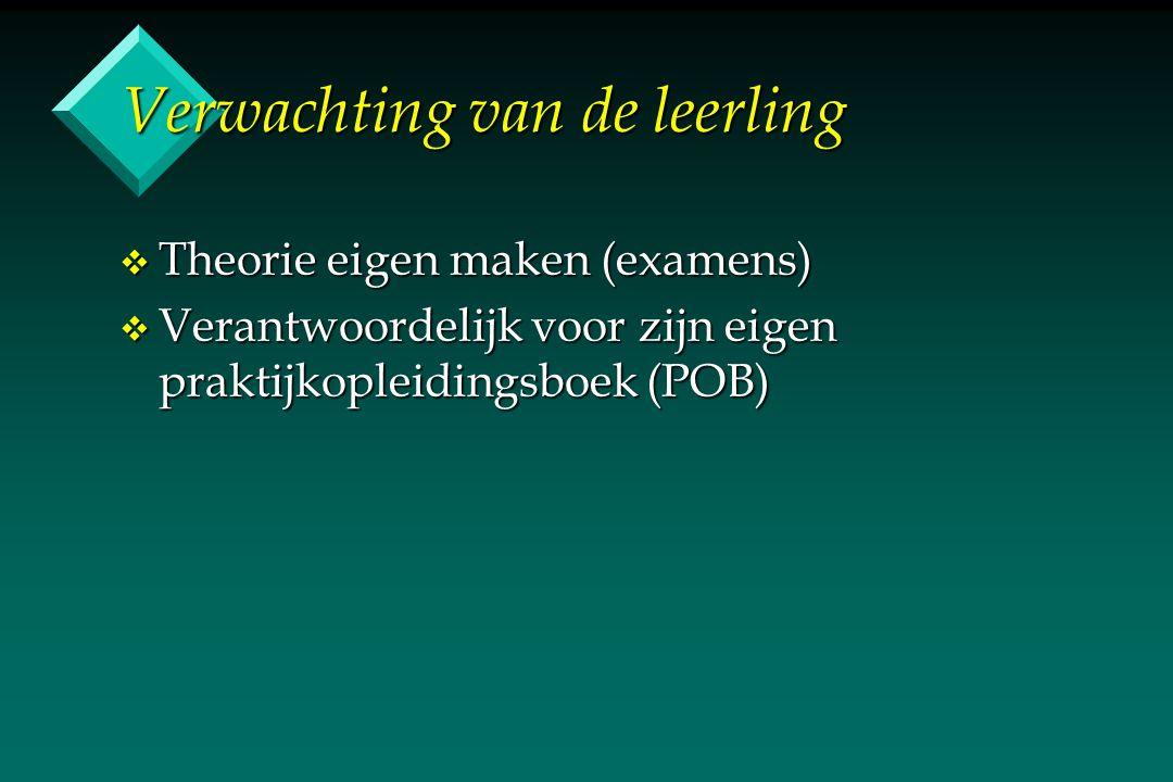 Verwachting van de opleiding v Theorie aanleveren (lessen opstellen) v Examens organiseren + opstellen v Praktijkopleidingsboek (POB) v Begeleiding praktijkbegeleider