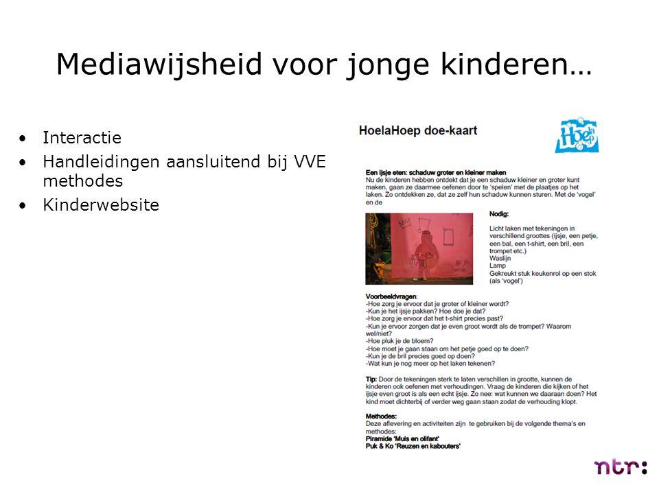 Mediawijsheid voor jonge kinderen… Interactie Handleidingen aansluitend bij VVE methodes Kinderwebsite