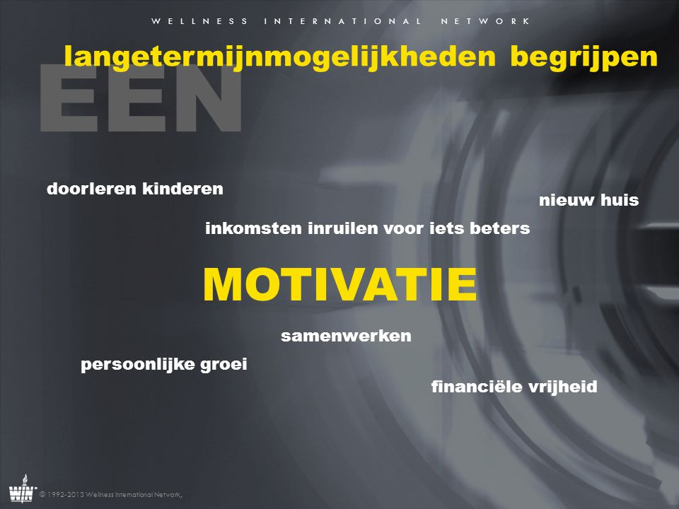 W E L L N E S S I N T E R N A T I O N A L N E T W O R K ® © 1992-2013 Wellness International Network, EEN langetermijnmogelijkheden begrijpen MOTIVATI