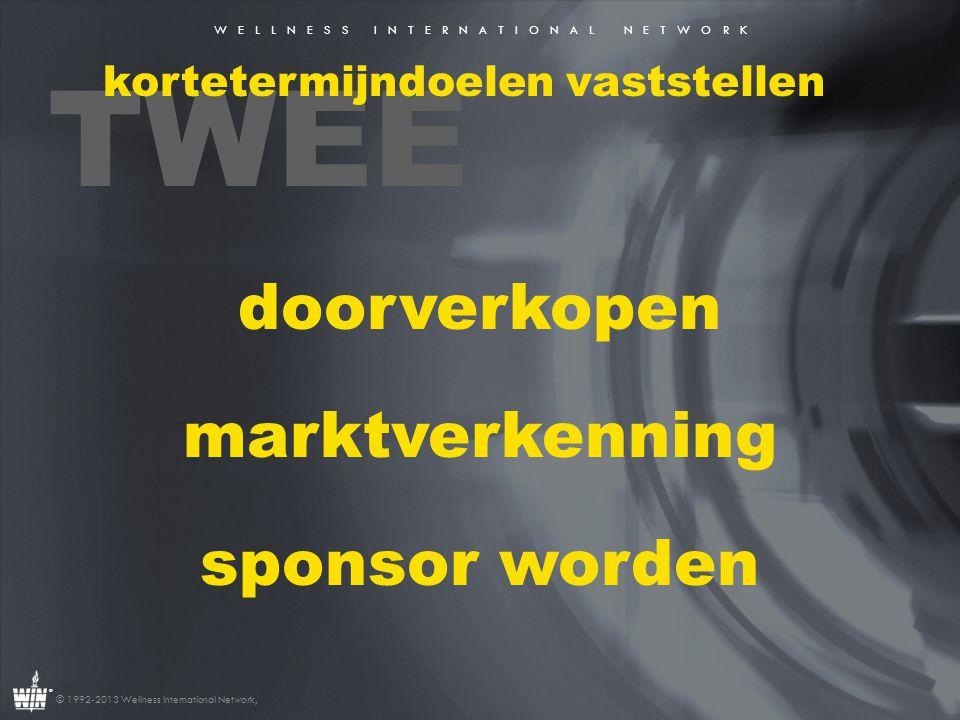 W E L L N E S S I N T E R N A T I O N A L N E T W O R K ® © 1992-2013 Wellness International Network, TWEE kortetermijndoelen vaststellen doorverkopen