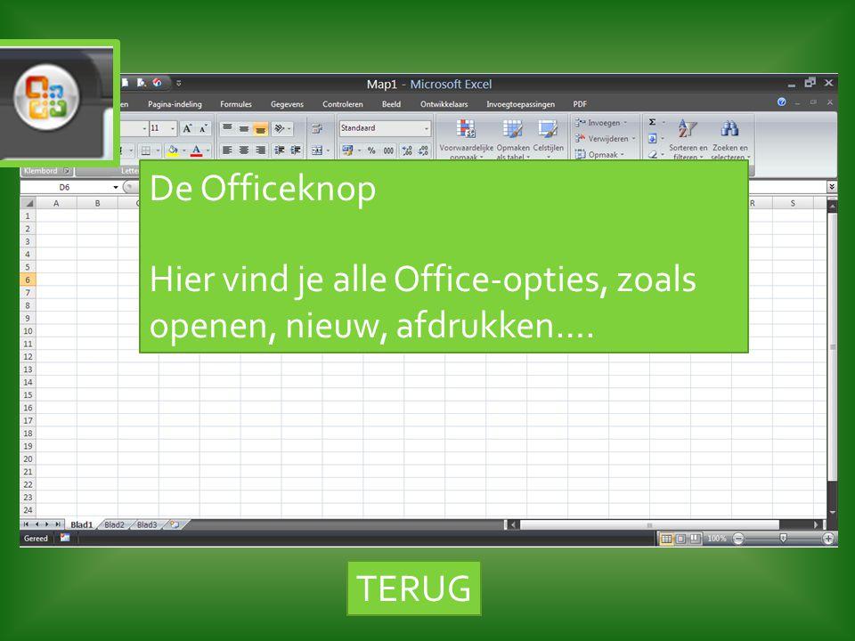 De Officeknop Hier vind je alle Office-opties, zoals openen, nieuw, afdrukken…. TERUG