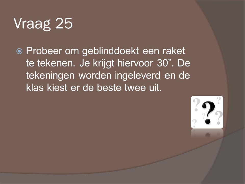 Vraag 25  Probeer om geblinddoekt een raket te tekenen.