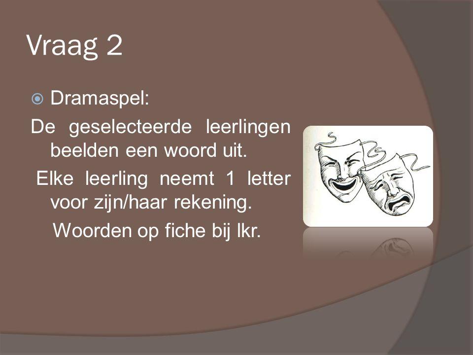 Vraag 2  Dramaspel: De geselecteerde leerlingen beelden een woord uit.