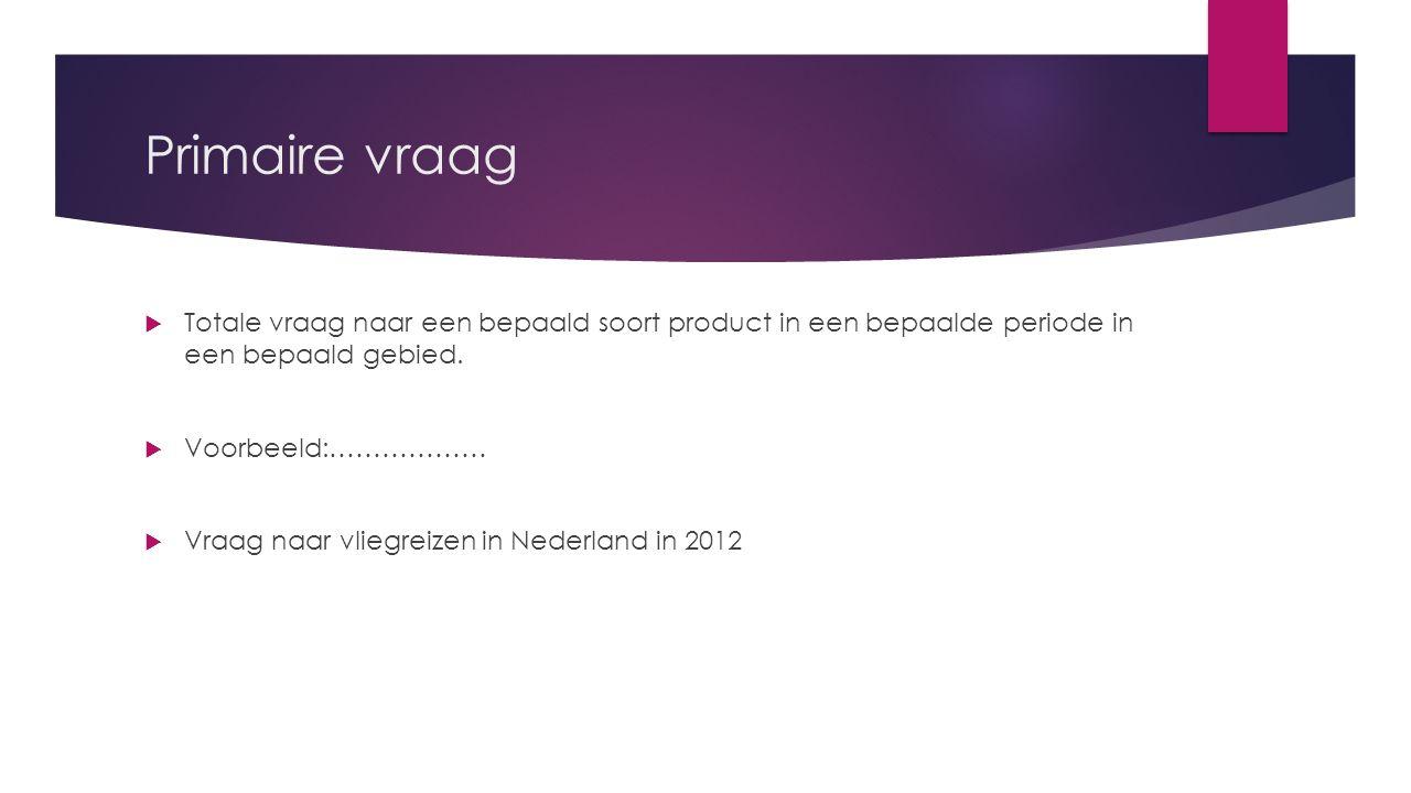 Secundaire vraag  De vraag naar een specifiek merk ( KLM) is de secundaire vraag.
