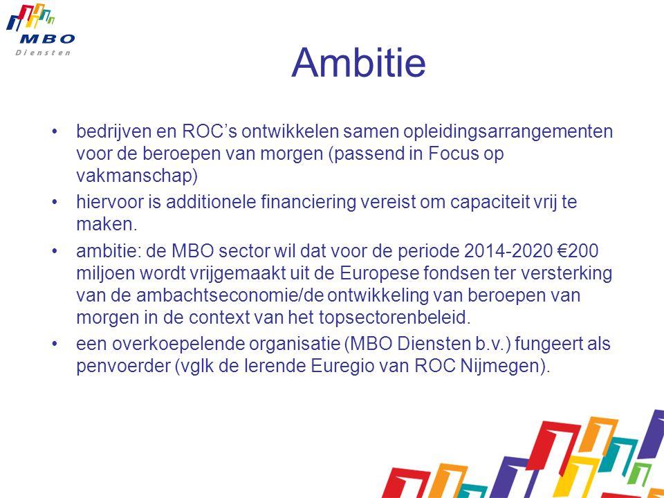 Ambitie bedrijven en ROC's ontwikkelen samen opleidingsarrangementen voor de beroepen van morgen (passend in Focus op vakmanschap) hiervoor is additionele financiering vereist om capaciteit vrij te maken.