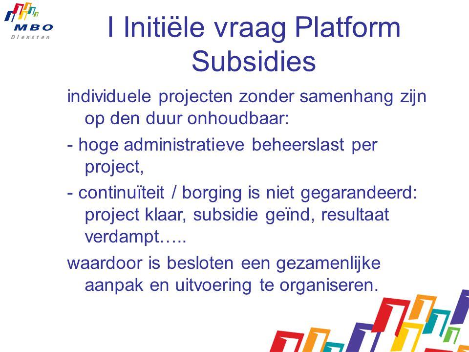 I Initiële vraag Platform Subsidies individuele projecten zonder samenhang zijn op den duur onhoudbaar: - hoge administratieve beheerslast per project, - continuïteit / borging is niet gegarandeerd: project klaar, subsidie geïnd, resultaat verdampt…..