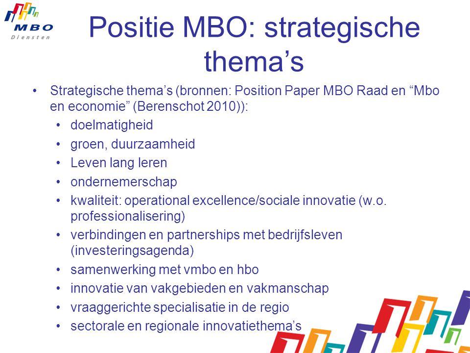 Positie MBO: strategische thema's Strategische thema's (bronnen: Position Paper MBO Raad en Mbo en economie (Berenschot 2010)): doelmatigheid groen, duurzaamheid Leven lang leren ondernemerschap kwaliteit: operational excellence/sociale innovatie (w.o.