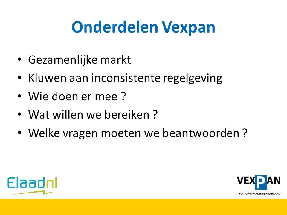 Onderdelen Vexpan Gezamenlijke markt Kluwen aan inconsistente regelgeving Wie doen er mee ? Wat willen we bereiken ? Welke vragen moeten we beantwoord